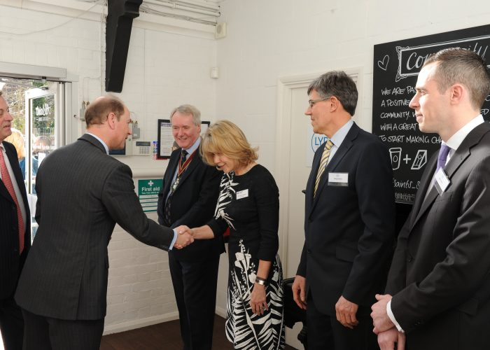 Vice Chairman Dr Julie Llewelyn greets HRH The Earl of Wessex