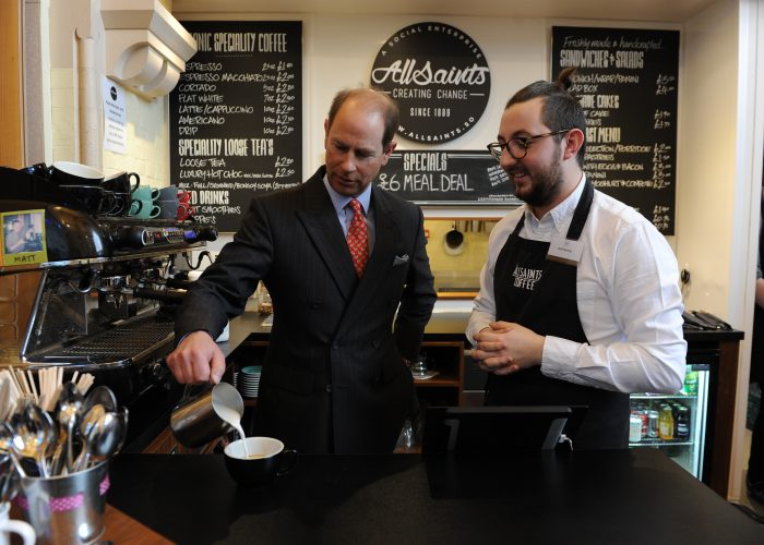 Allsaints Coffee Shop Manager, Matt Fleming, shows HRH how to make a cappucino